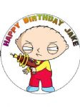 7.5 Personalised Family Guy Stewie Icing or Wafer Cake Top Topper NEW